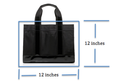 Bag size may not exceed 12 inches in any direction