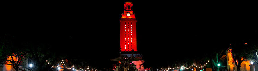 The University of Texas at Austin lights the tower orange during commencement